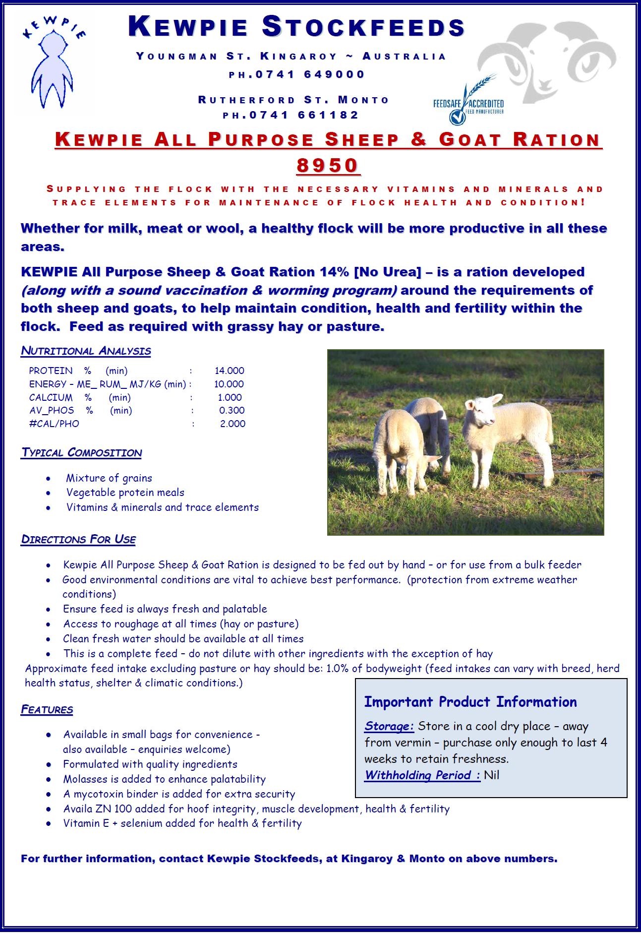 Kewpie 8950 A-P Sheep & Goat