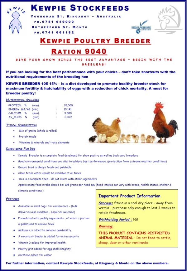 Kewpie Poultry Breeder 9040